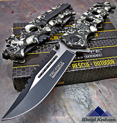 TAC-FORCE Spring Assisted Opening GREY SKULL CAMO Sawback Rescue Pocket Knife!!!