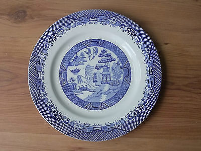 Vintage 1950s Barratt's 25.5cm China Dinner Plate - Willow Pattern - VGC