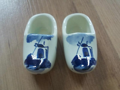 Vintage Pair of Delfts Blue & White Clogs - Windmill Holland - VGC