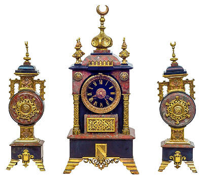 Antique Continental Bronze and Marble Clock Garniture for Islamic Market