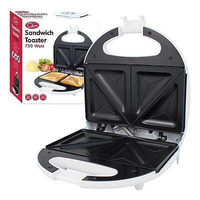 Electric 2 Slice Sandwich Toaster/Toasties Maker 750w Easy Clean WHITE Non Stick