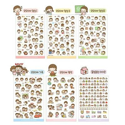 6Cartoon Girl Diary Planner Stickers Biscuits Scrapbook Calendar Decor Trendy CA