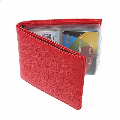 Red Genuine Leather Wonder Wallet Pouch RFID Slim Credit Card Pocket Purse Gift