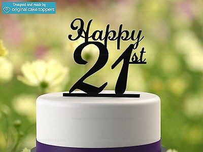 """Happy 21st"" - Black - 21st Birthday Cake Topper - Made by OriginalCakeToppers"