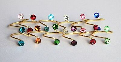 Birthstone Toe Ring in Silver/Gold made with Swarovski Crystal Elements
