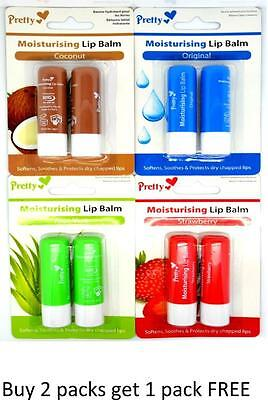 Pretty Twin Pack Moisturising Lip Balm Softens Soothes Protects Dry Chapped