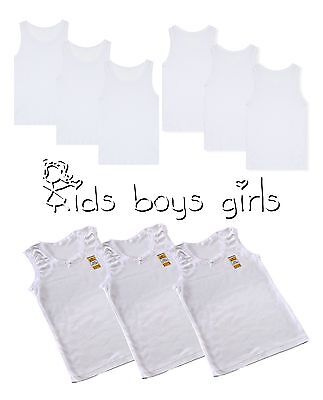 Kids Boys Children girls vests White 3 0R 6  Cotton Summer Tank Top School Wear