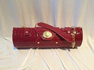 Little Black Dress Wines Red Croco Print Faux Leather Wine Holder Case Carrier