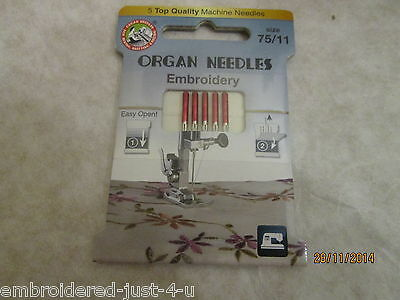 ORGAN EMBROIDERY NEEDLES - RED TOP - SUPERB QUALITY 75 and 90 MIXED PACK