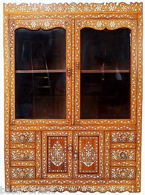 Intarsien schrank vitrine Antique Bone Inlay indian anglo Marquetry Cabinet