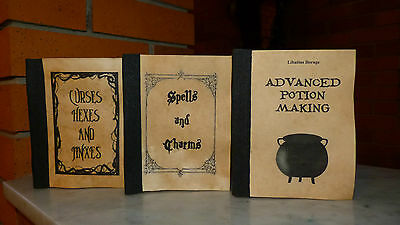 Harry Potter/Hogwarts 3 aged books of Spells,Charms,Potions,Curses,Jinxes, Hexes