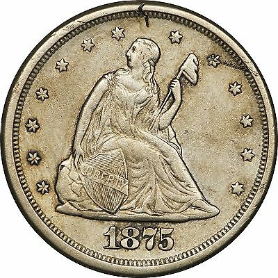 1875-S/S MPD-001 Twenty Cent, 20C, Almost Uncirculated AU Details