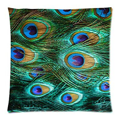 Green Purple Blue Colorful Peacock Bird Feathers Plumes Throw Pillow Case Cover
