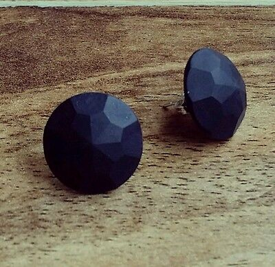 Black geometric faceted polymer clay round studs sterling silver earrings geo 15