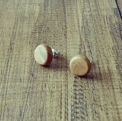 Glamorous gold polymer clay round studs sterling silver earrings 10mm jewelry