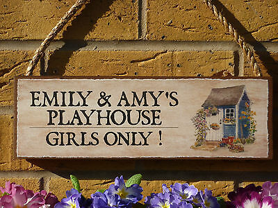 Personalised Play House Sign Play Den Sign Kids Garden Sign Wendy House Plaque