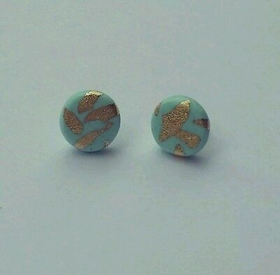 Mint polymer clay gold leaf round studs sterling silver sealed earrings 10mm