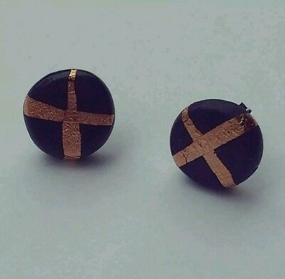 Navy cross X polymer clay copper leaf round studs sterling silver earrings 10mm