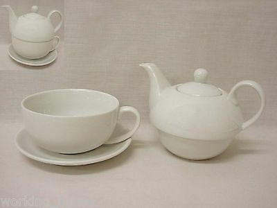 (34159) Tetera 475Ml Taza Y Plato 350Ml Tea For One Grande Porcelana Blanco