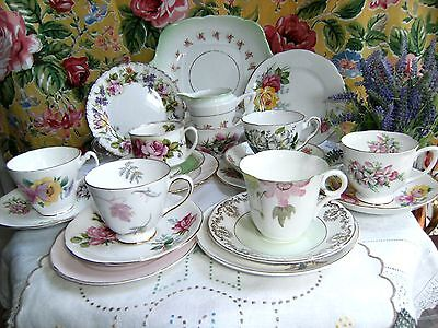 Pretty Pinks Green & Floral Mismatched Mixed Teaset 21 Piece Trios Bone China