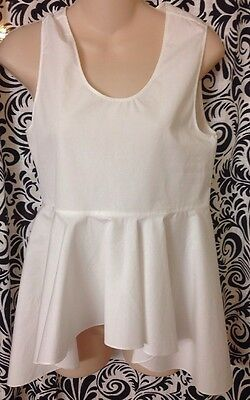 853746a06ddb3d CHLOÉ WHITE COTTON Eyelet Embroidered Detail Sleeveless Top Sz 36 ...