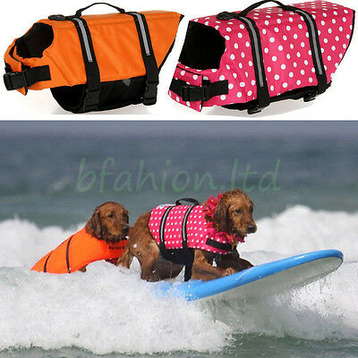 Pet Dog Life Jacket Swimming Float Vest Reflective Adjustable Buoyancy Aid S-XXL