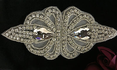 Beautiful Silver Crystal Rhinestone Applique Sewing Iron on Bridal Patch