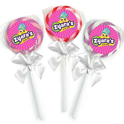 24 Shopkins 1.65 Inch Round Favor Lollipop Stickers Personalized Party Supplies