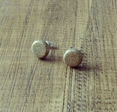 Glamorous Gold Glitter polymer clay round studs sterling silver earrings 10mm