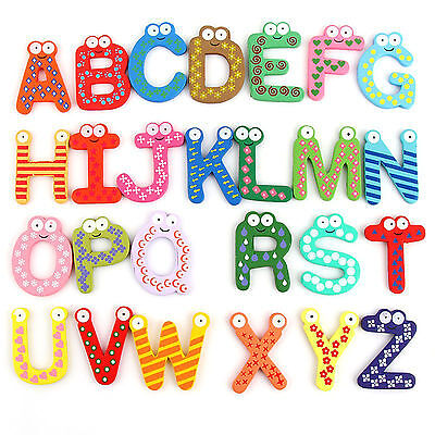 26pcs Alphabets Letters Fridge Magnets Baby Kids Education Toys Wooden Colorful