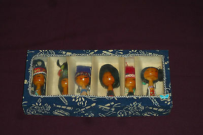 "Vintage Set of Six Japanese 4"" Wooden Kokeshi Dolls Figurines With Original Box"