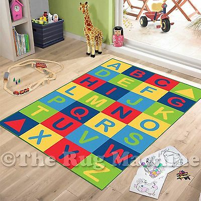 ABC ALPHABET LETTERS KIDS FUN PLAY RUG 100x150cm NON-SLIP & WASHABLE **NEW**