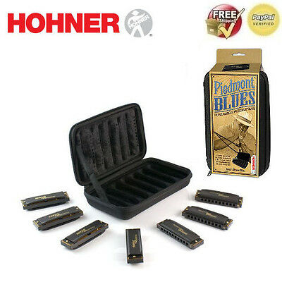 Hohner Piedmont Blues Harmonica Set (7 Different Keys) + Case **FREE SHIPPING**