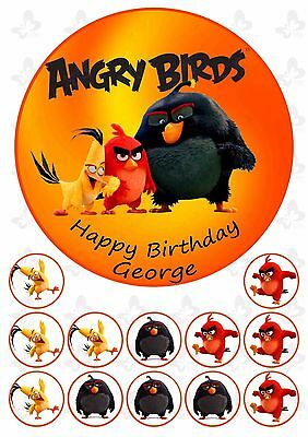 Angry Birds 19cm PERSONALISED Cake edible Image topper plus 12 cupcake topper