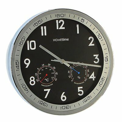 Hometime 30cm Round Silver Wall Clock Weather Station Thermometer Hygrometer