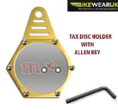 Tax Disc Holder High Quality Waterproof Almunium Hexagonal For Motorbikes Gold