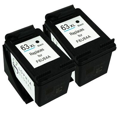 2 Black Ink Cartridges for HP 63XL Envy 4520 4526 Officejet 3830 4650 HP63XL