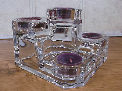 Partylite Crystal Castle  Glass Tealight Candle Holder with New Scented Candles