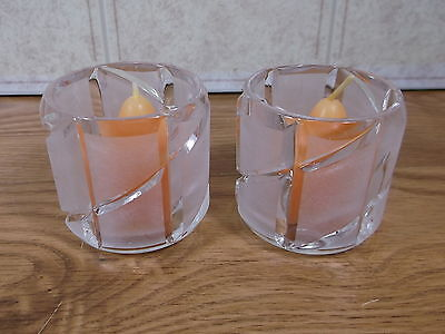 Partylite Crystal Counterpoint  Pair Votive Candle holder P0267 -  2 new candles