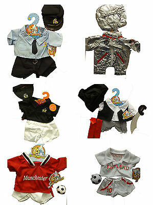 "16"" build a bear fit teddy clothes, football, pirate, karate, astronaut  BNWT"