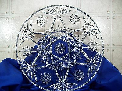 EAPC Anchor Hocking Star Of David Prescut Glass 5 Part Round Tray 13-1/2""