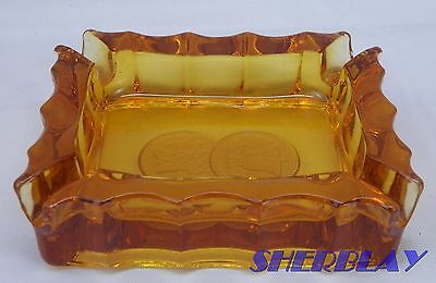 "Vintage Fostoria COIN GLASS AMBER Ashtray 3 3/4"" X 3"""