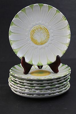 8 Piece Mottahedeh Italy Porcelain Yellow White Embossed Daisy Salad Plate Set