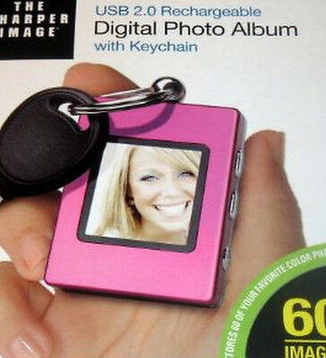 Digital Photo Album Keychain Usb Rechargeable! The Sharper Image Pink! Free Ship
