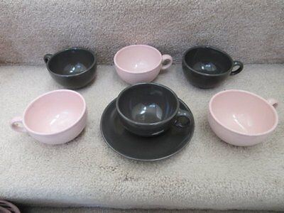 Iroquois Casual China Russel Wright 6 Cups 1 Saucer Pink Charcoal EUC