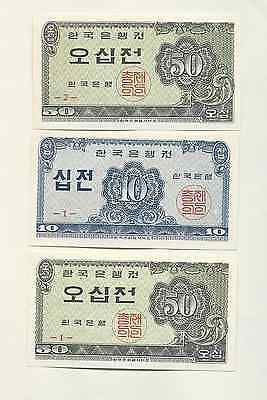 South Korea 1962 - 10 & 50 Jeon , Bank note set of 23 CIR & UCR