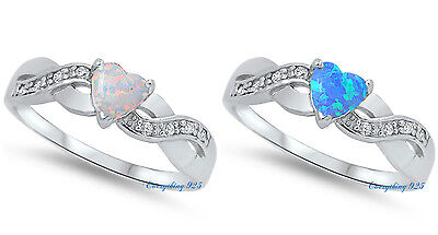 Sterling Silver 925 INFINITY HEART PROMISE RINGS LAB OPAL STONES 5MM SIZES 4-12