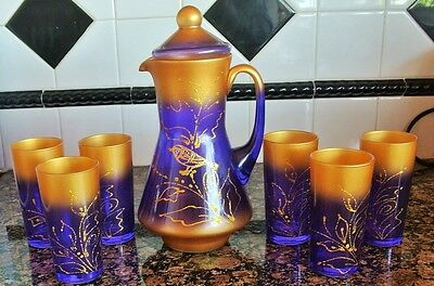 Russian Art Glass Pitcher Lid and 6 glasses Amethyst Gold Gilt Frosted Set Bird!