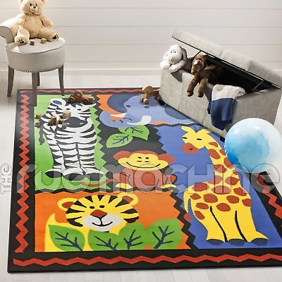 JUNGLE FRIENDS COLOURFUL ANIMALS FUN FUNKY KIDS FLOOR RUG 165x235cm **NEW**
