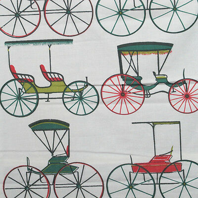 1900s Cheney Brothers Hand Screen Print 'Carriages' Cotton
